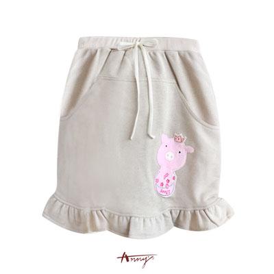 Anny敲可愛粉紅豬荷葉擺鬆緊短裙*7489卡其