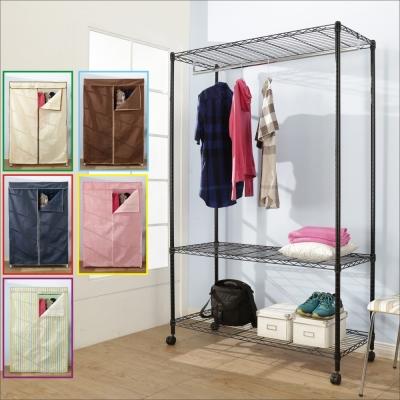 BuyJM鐵力士黑烤漆強固型三層單桿布套衣櫥附輪120x45x185CM-DIY