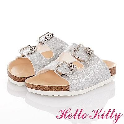 HelloKitty 俏麗金蔥輕便減壓吸震腳床型拖鞋童鞋-銀