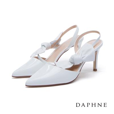 達芙妮DAPHNE 高跟鞋-立體蝴蝶結綁飾後拉帶尖頭鞋-白