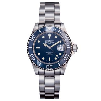 DAVOSA Ternos Ceramic 200米陶瓷框潛水腕錶-藍/40mm