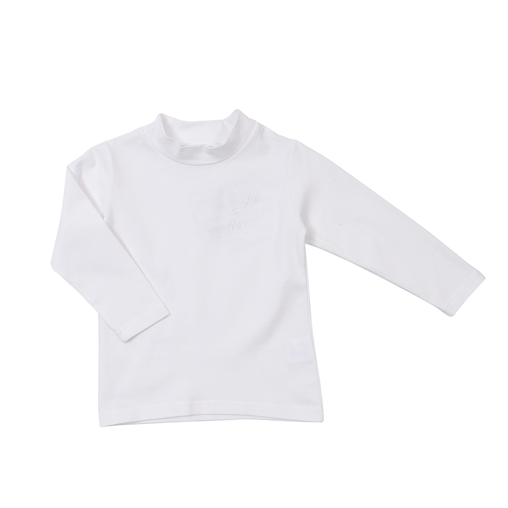 愛的世界 pappa&ciccia 彈性半高領上衣-白/6~12歲