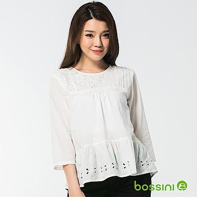 bossini女裝-七分袖繡花罩衫灰白