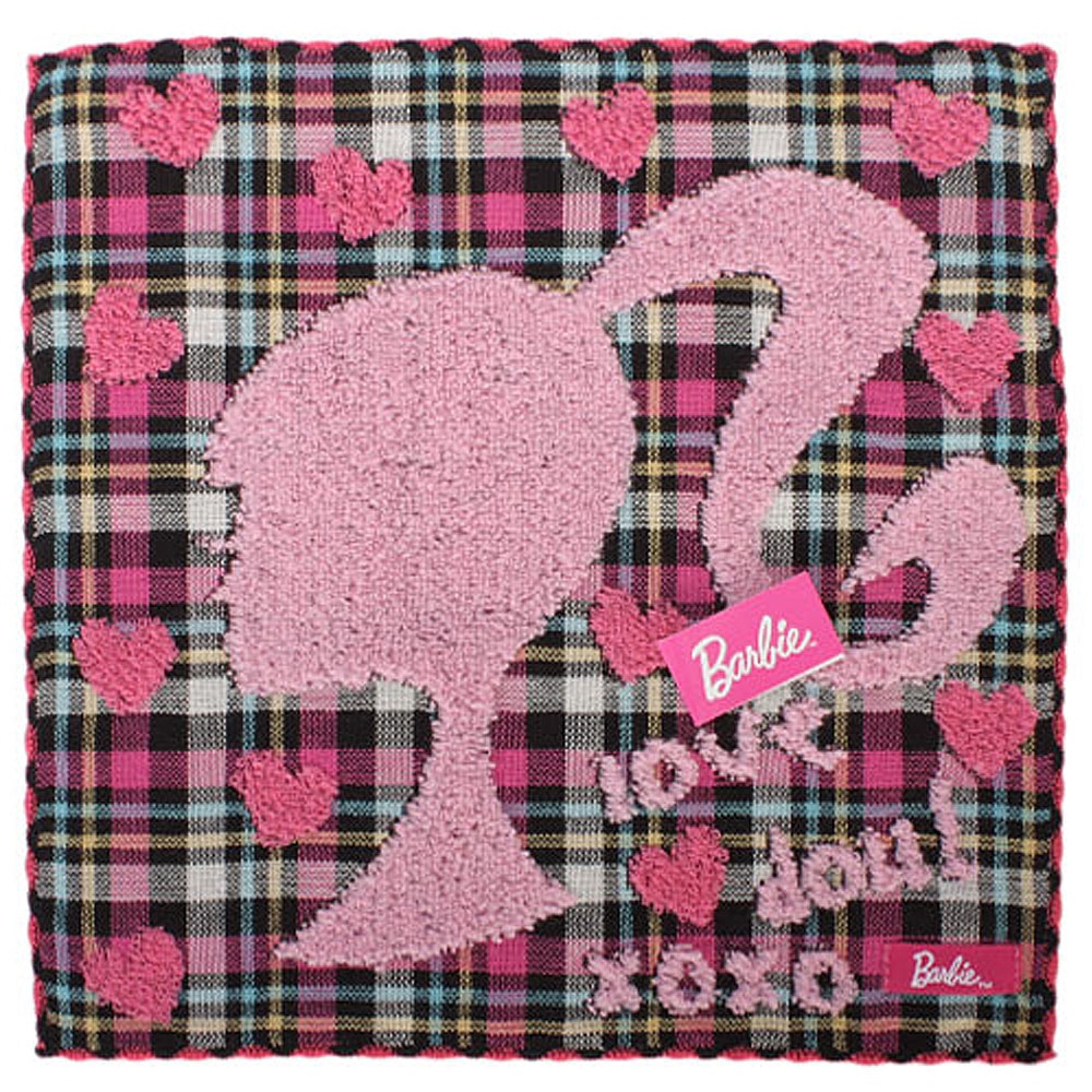 Barbie 渡假芭比格紋棉方巾-桃紅