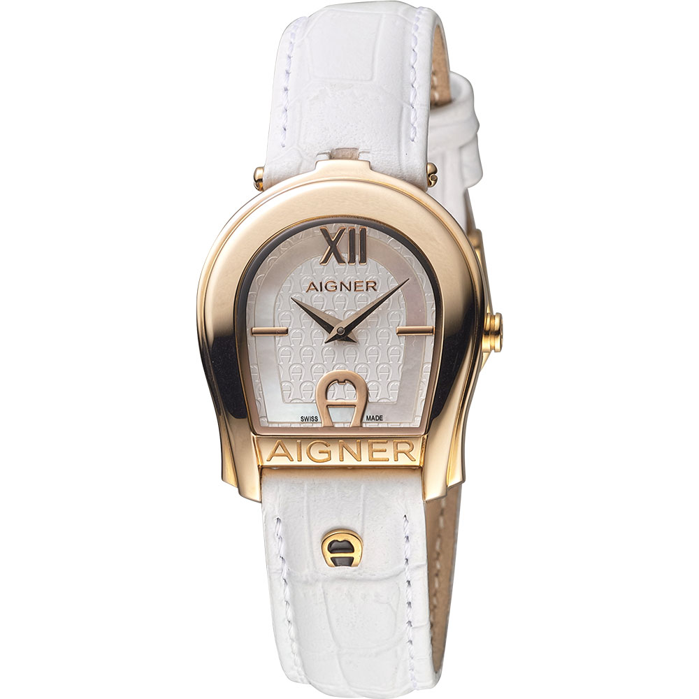 AIGNER Andria 愛格納馬蹄造型仕女錶-玫瑰金框x白/29mm