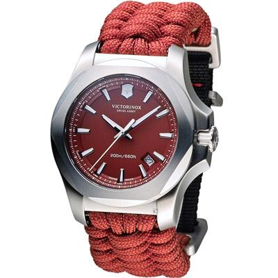 Victorinox 維氏 INOX 軍事標準專業腕錶-紅色/43mm