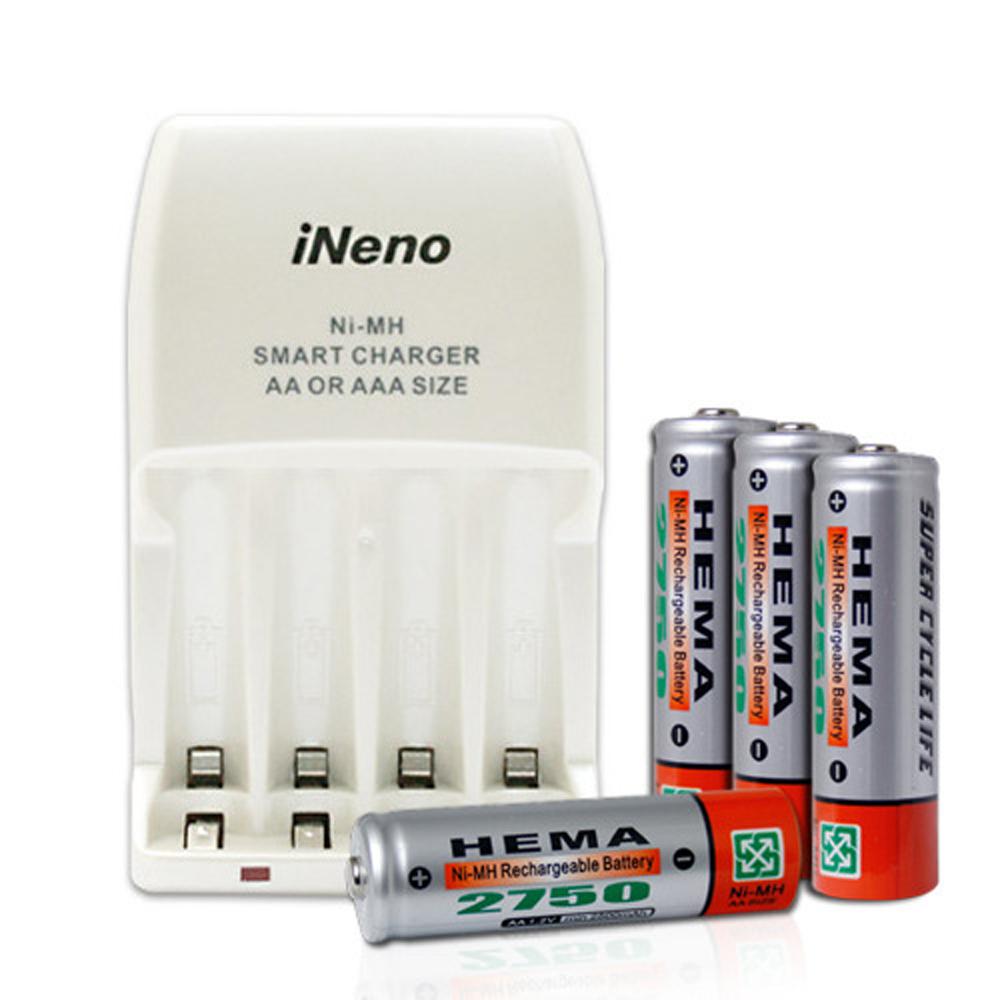 HEMA三號充電電池四入搭iNeno LED四插槽充電器