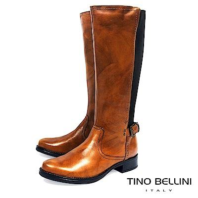Tino Bellini 歐洲進口仿舊擦色拼接彈力布平底長靴_ 棕