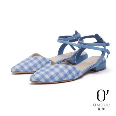達芙妮x高圓圓-圓漾系列-平底鞋-格紋蕾絲交叉雙踝帶尖頭鞋-淺藍