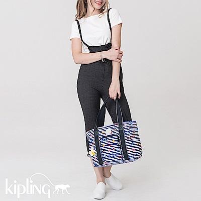 Kipling 手提包 Emoji系列香蕉吊飾 條紋圖案-中