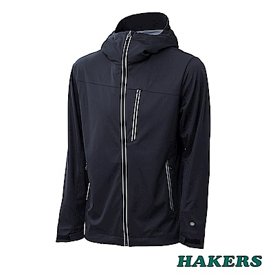 【HAKERS】男款 防潑軟殼外套(黑色)