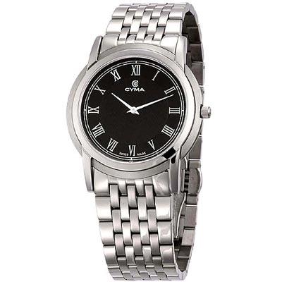CYMA 優雅羅馬薄型時尚腕錶-黑/38mm