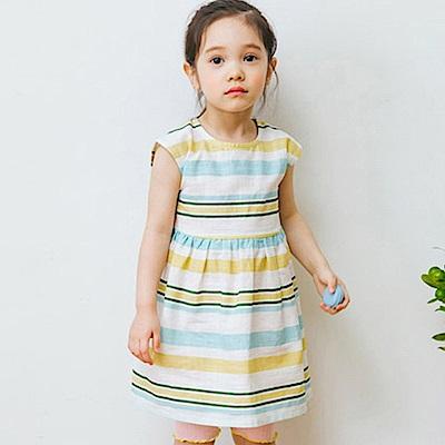 BEBEZOO 韓國 兩色條紋無袖洋裝