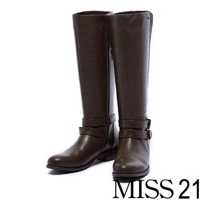 長靴MISS 21 纖細V型剪裁金屬釦環低跟長靴-棕