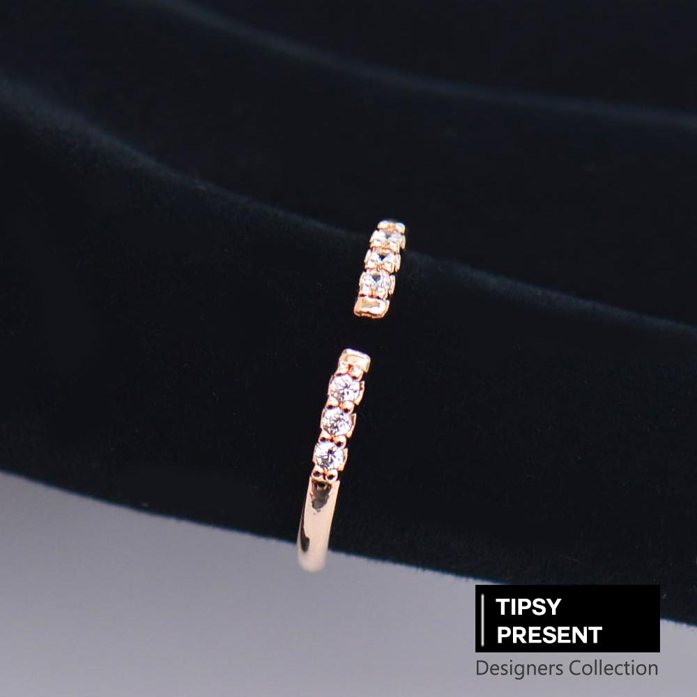 微醺禮物 韓製 鍍16K金 六顆迷你鋯石 開口式 戒指 尾戒 指節戒