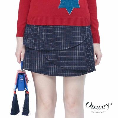 OUWEY歐薇-莫納小鎮格紋褲裙-藍
