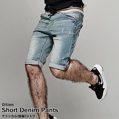 DITION 韓國彈力螺紋丹寧牛仔短褲 復古刷白 VESPA