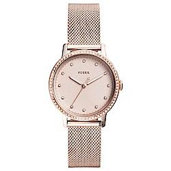 FOSSIL 魅力晶鑽米蘭帶時尚女錶-玫塊金/34m