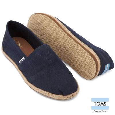 TOMS-經典綿麻織紋懶人鞋-男款-藍