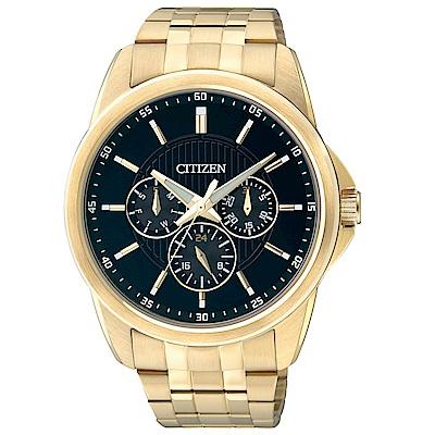 CITIZEN星辰  都會菁英三眼夜光石英腕錶 (AG8342-52L)- 黑/42mm