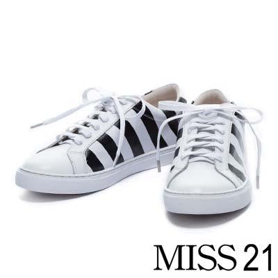 休閒鞋MISS 21 簡約時尚情侶鞋款牛皮綁帶休閒男鞋-白