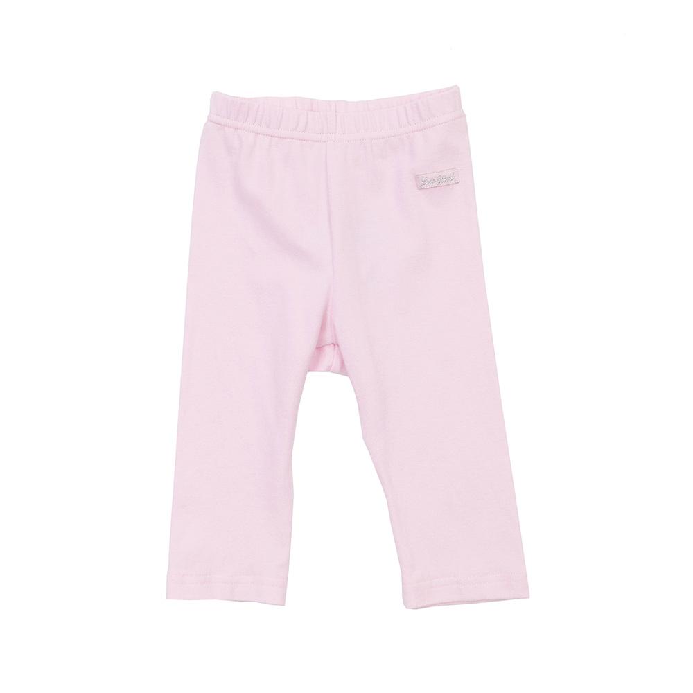 愛的世界 北極熊彈性鬆緊帶緊身長褲-粉/3個月~1歲