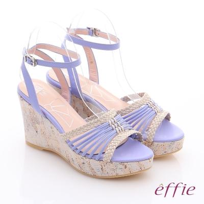 effie 輕音躍 全真皮編織條帶楔型涼鞋 紫