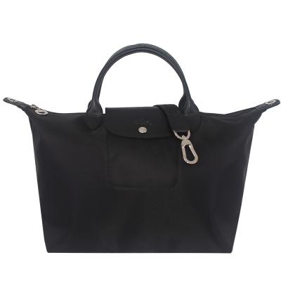 Longchamp Le pliage Neo 厚質尼龍布短帶水餃包/斜背包(黑色/中)
