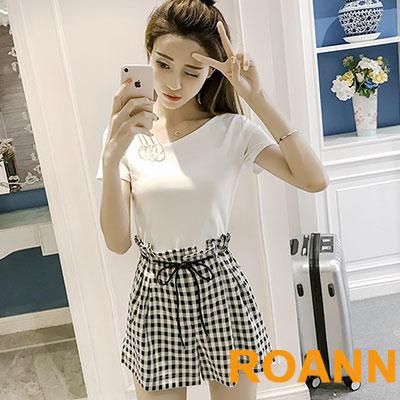 斜領短袖T恤+高腰格紋短褲兩件套 (共二色)-ROANN