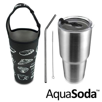 美國AquaSoda  304 不鏽鋼雙層保溫保冰杯(含提袋超值組合)