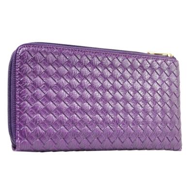 Miyo經典壓編織紋拉鍊護照夾(紫)