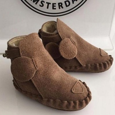 Donsje 荷蘭 咖啡小熊款動物造型內刷毛蝴蝶結真皮寶寶靴子
