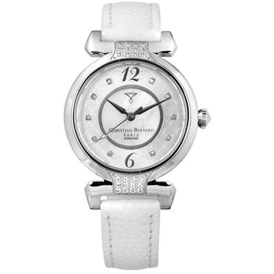 CHRISTIAN BERNARD 伯納錶 白剛玉真鑽珍珠母貝真皮手錶-銀x白/32mm
