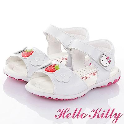 HelloKitty草莓系列 手工鞋牛皮超纖減壓防滑涼鞋童鞋-白