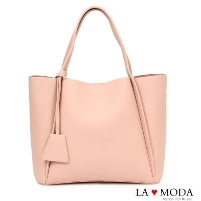 La Moda 完美穿搭設計感多種揹法荔枝紋托特包子母包(粉)