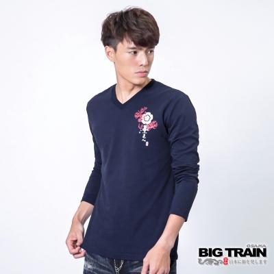 BIG TRAIN 雪輪猛虎怒視V領TEE-男-深藍