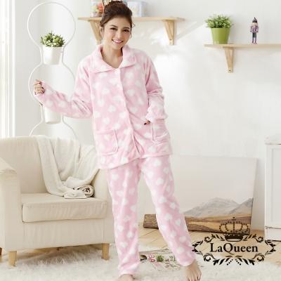 睡衣   可愛甜心雙面水貂絨套裝睡袍-粉色愛心 La Queen