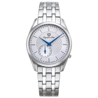Olympia Star奧林比亞之星 經典都會系列小秒針時尚腕錶-銀/36mm