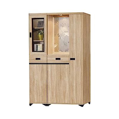 品家居  曼達4尺橡木紋雙面櫃/玄關櫃-118.7x39.7x189cm免組