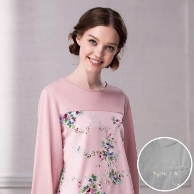 羅絲美睡衣 - 玫瑰公主印花長袖圓領褲裝睡衣(灰色)