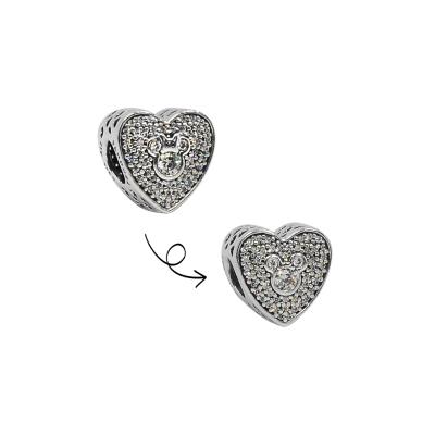 Pandora 潘朵拉 米奇米妮閃閃發光鑲鋯愛心 純銀墜飾 串珠