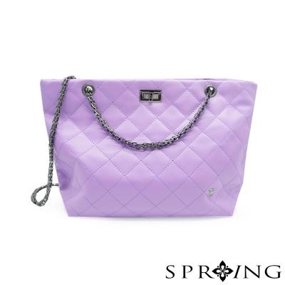 SPRING-華麗貴族菱格兩用托特包-薰衣草紫