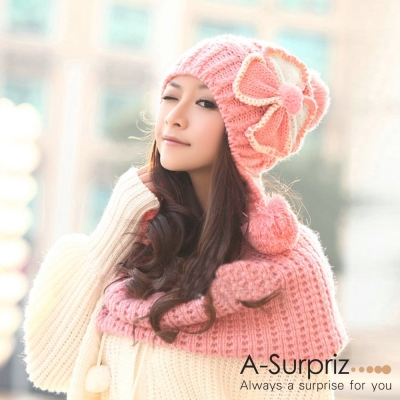 A-Surpriz-雙色幸運草女孩編織毛線帽-粉色