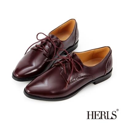 HERLS 內真皮 職人穿搭綁帶漆皮德比牛津鞋-酒紅色