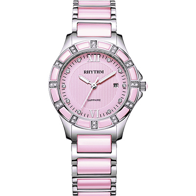 RHYTHM日本麗聲 陶瓷晶鑽淑女錶-粉紅x銀/32mm F1202T03