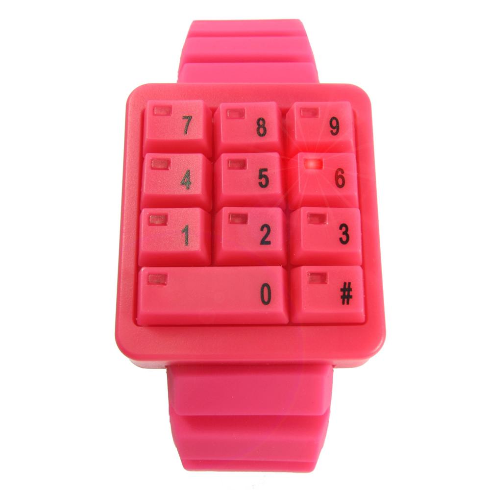 CLICK 創意爆破數字鍵盤個性腕錶-桃紅/45mm