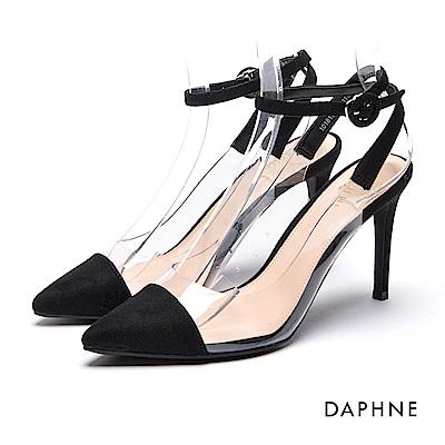 達芙妮DAPHNE 高跟鞋-拼接繞踝透明高跟涼鞋-黑