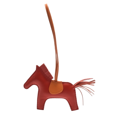 HERMES RODEO GM 馬兒造型拼色小羊皮鑰匙圈/吊飾(大-紅X橘)
