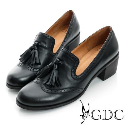 GDC復古-牛津樂福紳士真皮中跟鞋-黑色