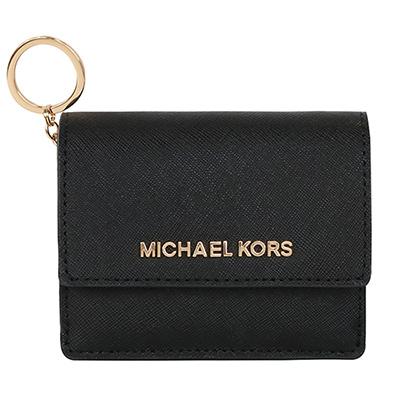 MICHAEL KORS JET SET防刮真皮扣式鑰匙零錢包(黑色)